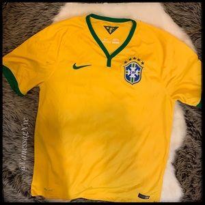 Nike Yellow Soccer Jersey Logo Sz Large
